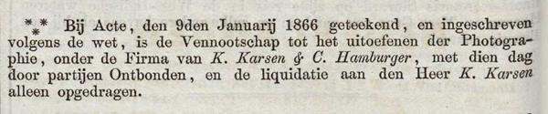 Advertentie in de Staatscourant van 21 januari 1866
